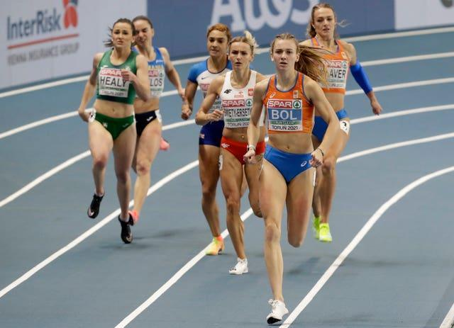 Jodie Williams (third from left) claimed a bronze medal in the women's 400 metres