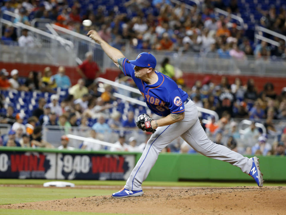 New York Mets' Chris Beck delivers a pitch during the third inning of the team's baseball game against the Miami Marlins, Friday, June 29, 2018, in Miami. (AP Photo/Wilfredo Lee)