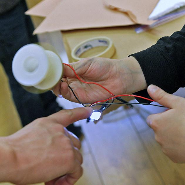 The electrical circuit has been completed, time to show the teacher.