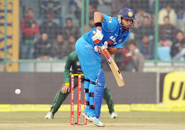 Yuvraj Singh (India) in an action against Pakistan during the 3rd One Day Internationals Match between India & Pakistan at Ferozeshah Kotla Stadium in Delhi on January 6, 2013. P D Photo by Asish Maitra