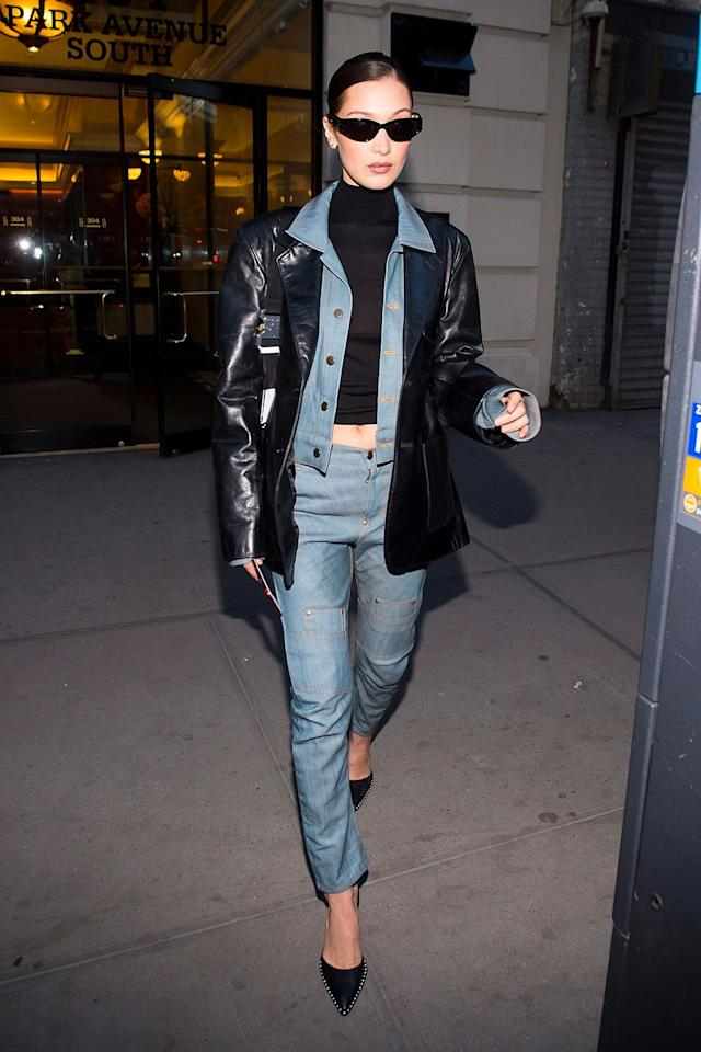 """<p>Take note from model of the moment Bella Hadid and layer a leather jacket over your denim for that '90s <em>Matrix</em> look on a chilly night. </p><p><em>Helmut Lang leather jacket, $2,029, <a href=""""https://www.farfetch.com/shopping/women/helmut-lang-relaxed-fit-leather-blazer-jacket-item-13497432.aspx?storeid=9359"""" target=""""_blank"""">farfetch.com</a>.</em></p><p><a class=""""body-btn-link"""" href=""""https://www.farfetch.com/shopping/women/helmut-lang-relaxed-fit-leather-blazer-jacket-item-13497432.aspx?storeid=9359"""" target=""""_blank"""">SHOP</a><br></p><p><em>GRLFRND denim jacket, $258, <a href=""""http://www.revolve.com/grlfrnd-cara-cropped-denim-jacket/dp/GRLR-WO3/?product=GRLR-WO3&fbreq=el"""" target=""""_blank"""">nordstrom.com</a>.</em></p><p><a class=""""body-btn-link"""" href=""""http://www.revolve.com/grlfrnd-cara-cropped-denim-jacket/dp/GRLR-WO3/?product=GRLR-WO3&fbreq=el"""" target=""""_blank"""">SHOP</a><br></p>"""