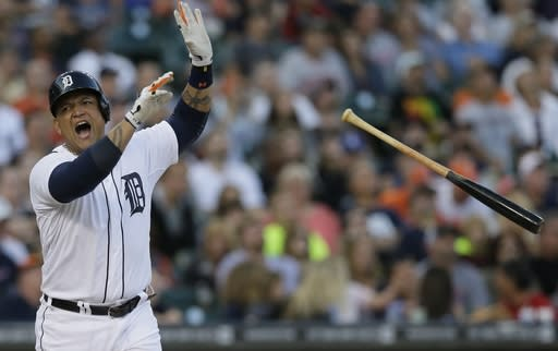 Detroit Tigers' Miguel Cabrera reacts after popping out to second during the third inning in the second baseball game of a doubleheader against the Cleveland Indians, Saturday, July 19, 2014 in Detroit. (AP Photo/Carlos Osorio)