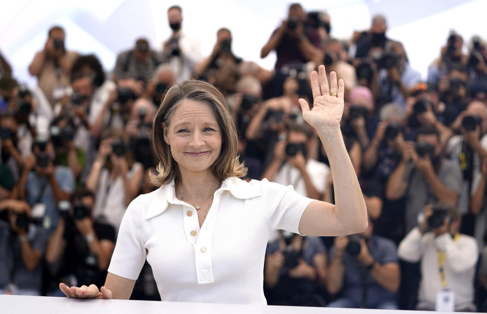 Jodie Foster, who will receive an honorary Palme d'Or during the opening ceremony, poses for photographers at the 74th international film festival, Cannes, southern France, Tuesday, July 6, 2021. (AP Photo/Brynn Anderson)