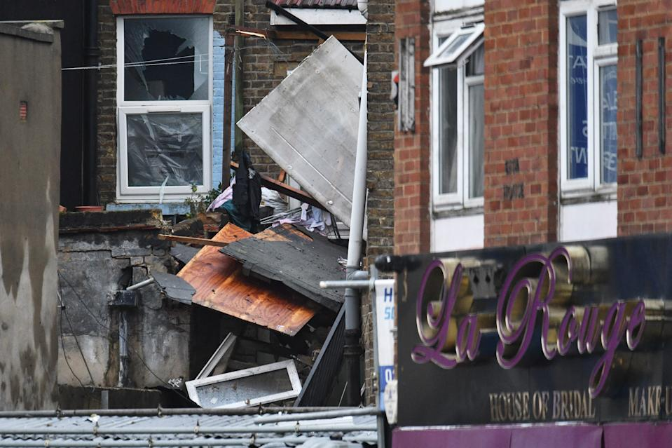 "The scene of a suspected gas explosion on King Street in Ealing, west London. Rescuers are involved in a ""complex"" search for anyone who may still be inside the collapsed building. (Photo by Dominic Lipinski/PA Images via Getty Images)"