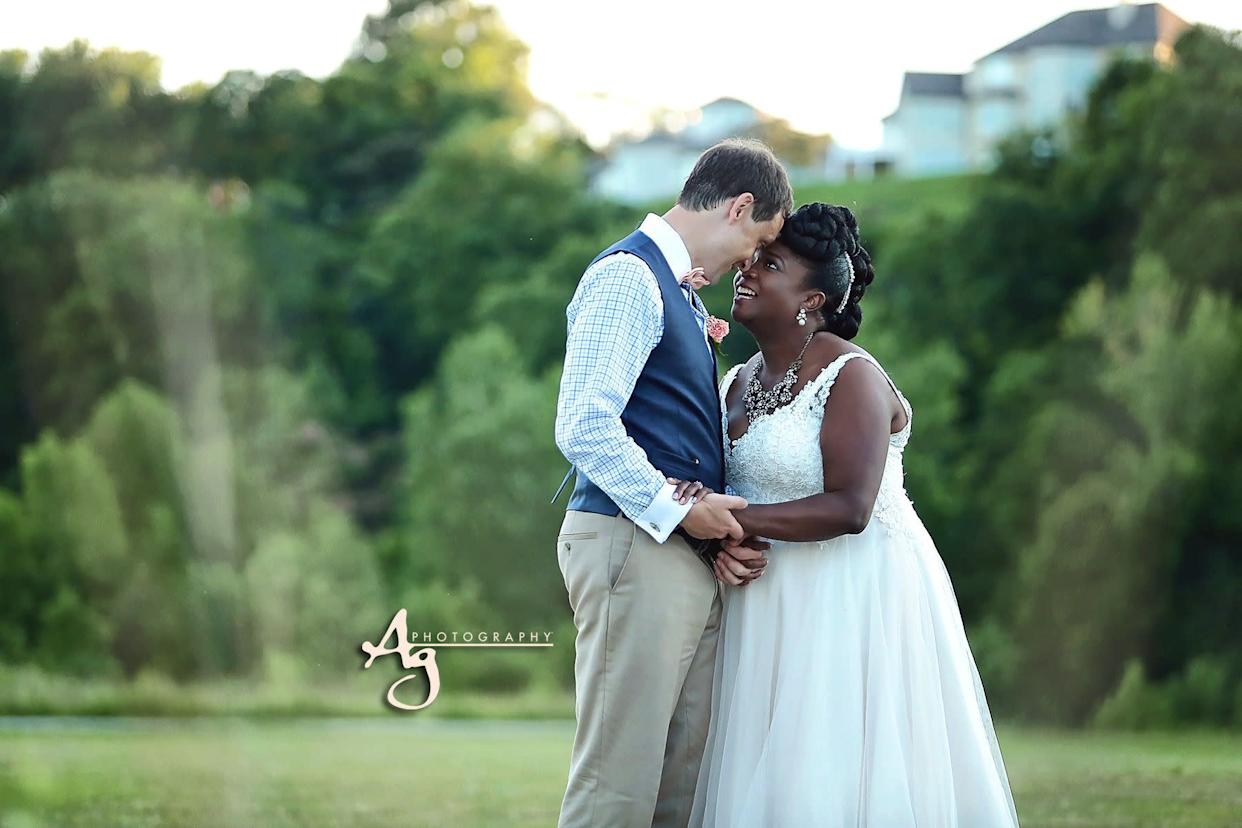 """""""Dr. Jacob and Aisha Hedges were married on July 1 at&nbsp;Cliff Cave Park pavilion."""" --&nbsp;<i>Ag Photography</i>"""