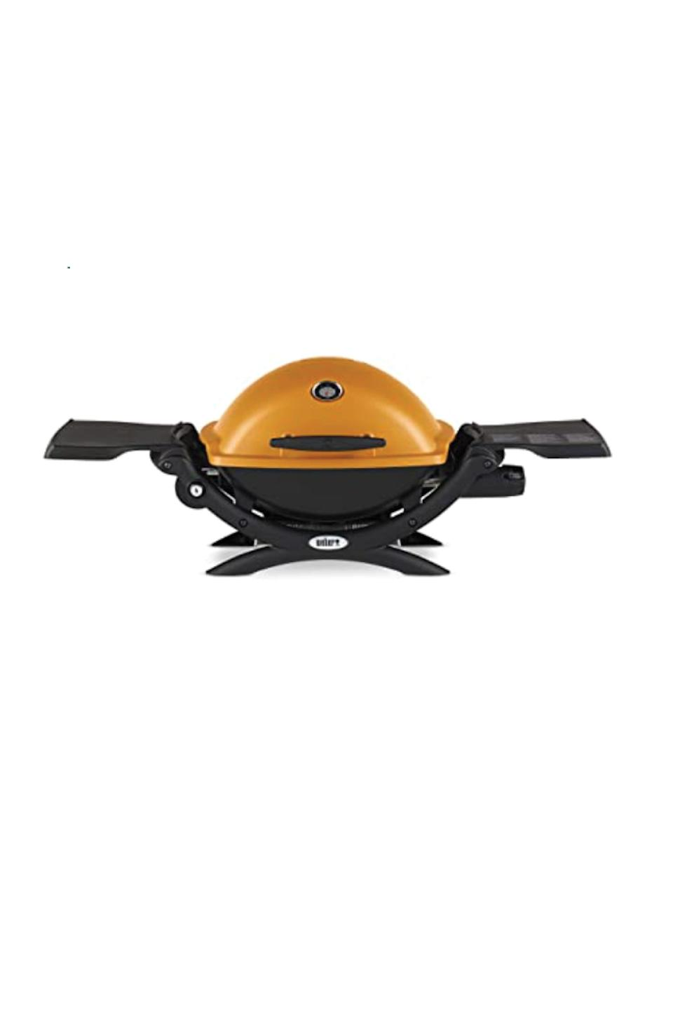 """<p><strong>Weber</strong></p><p>amazon.com</p><p><strong>$219.00</strong></p><p><a href=""""https://www.amazon.com/dp/B00RFXRZ9Y?tag=syn-yahoo-20&ascsubtag=%5Bartid%7C10072.g.36728116%5Bsrc%7Cyahoo-us"""" rel=""""nofollow noopener"""" target=""""_blank"""" data-ylk=""""slk:Shop Now"""" class=""""link rapid-noclick-resp"""">Shop Now</a></p><p>Dinner for two? This fully assembled model has one burner, a cast-iron grilling grate for easy cleanup, not to mention nearly 5,000 five-star reviews on Amazon.</p>"""