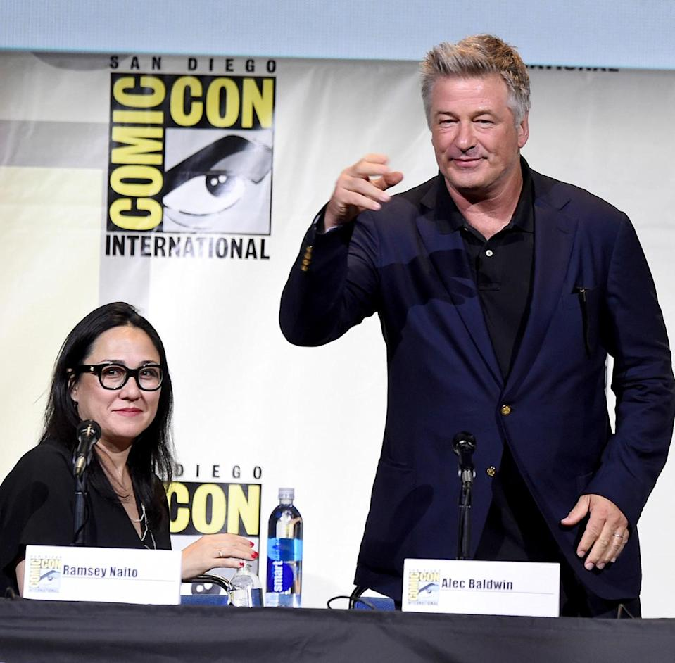 <p>Producer Ramsey Naito and Alec Baldwin at the DreamWorks Panel on July 21. <i>(Photo: Kevin Winter/Getty Images)</i></p>