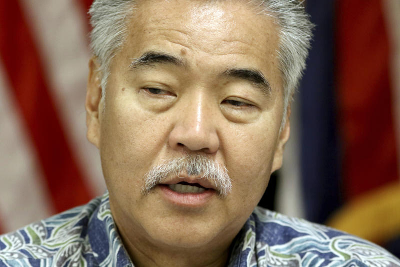 FILE - In this Jan. 30, 2018 file photo, Hawaii Democratic Gov. David Ige speaks during a news conference about the state's mistaken missile report in Honolulu. He is challenged by Republican candidate for governor Andria Tupola in November. (AP Photo/Caleb Jones, File)