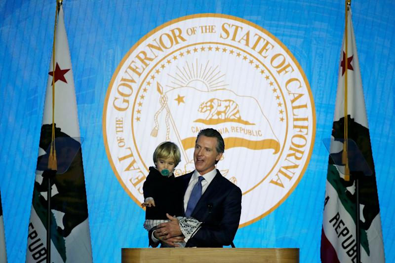 California's new governor gets help from young son at inauguration speech
