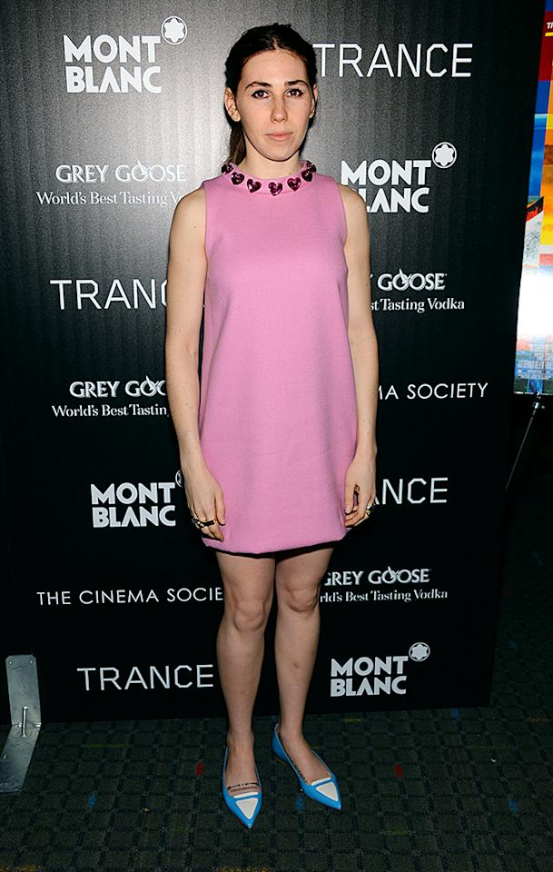 "Not even Zosia Mamet's painfully fashion-challenged ""Girls"" co-star, Lena Dunham, would be caught dead in a heart-accented, Pepto-Bismol-pink mini and equally appalling pointy pumps. (4/2/2013)"