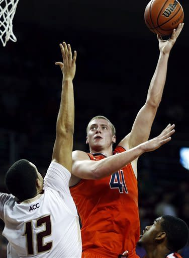 Auburn's Rob Chubb (41) shoots over Boston College's Ryan Anderson (12) in the first half of an NCAA college basketball game in Boston, Wednesday, Nov. 21, 2012. (AP Photo/Michael Dwyer)