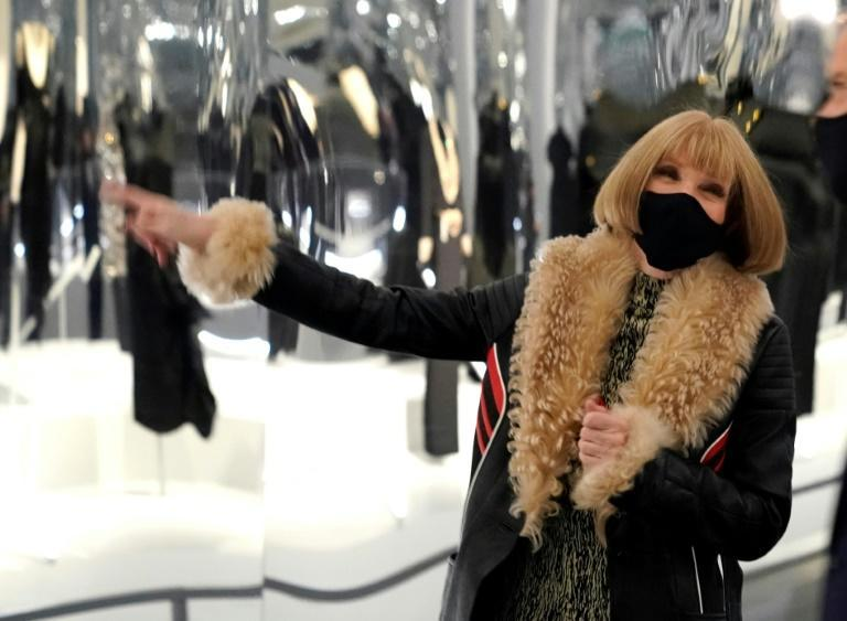 "Anna Wintour, who overseas the Costume Institute, presenting the new exhibition ""About Time"""