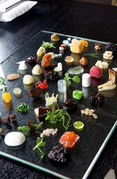 An 86-component dish at Alinea in Chicago.