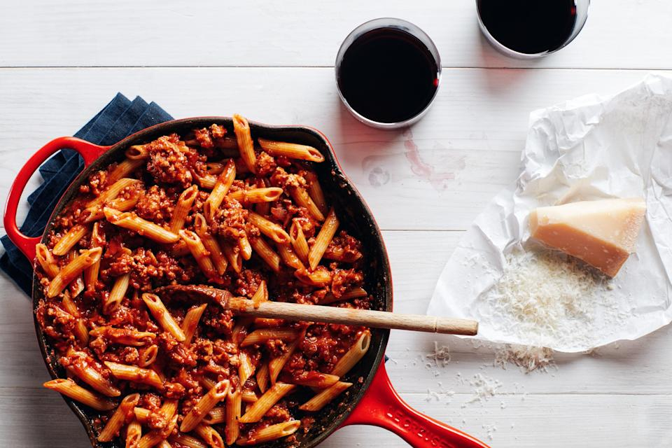 """This rich 15-minute ragù turns pasta or <a href=""""https://www.epicurious.com/recipes/food/views/big-batch-parmesan-polenta?mbid=synd_yahoo_rss"""" rel=""""nofollow noopener"""" target=""""_blank"""" data-ylk=""""slk:polenta"""" class=""""link rapid-noclick-resp"""">polenta</a> into a quick hearty and dinner any night of the week. <a href=""""https://www.epicurious.com/recipes/food/views/pasta-with-15-minute-meat-sauce-56390063?mbid=synd_yahoo_rss"""" rel=""""nofollow noopener"""" target=""""_blank"""" data-ylk=""""slk:See recipe."""" class=""""link rapid-noclick-resp"""">See recipe.</a>"""