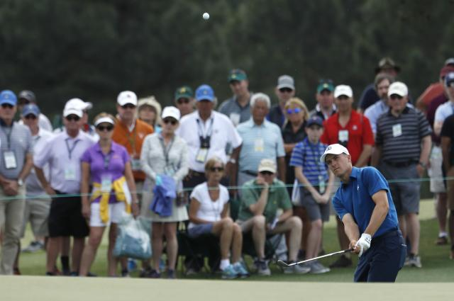 Jordan Spieth of the U.S. chips to the 17th green during second round play of the 2018 Masters golf tournament at the Augusta National Golf Club in Augusta, Georgia, U.S., April 6, 2018. REUTERS/Jonathan Ernst