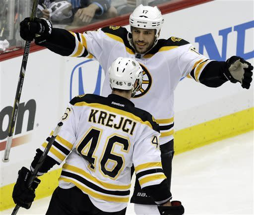 Boston Bruins' David Krejci (46) celebrates his second goal of the game with teammate Milan Lucic in the third period of Game 1 of the NHL hockey Stanley Cup Eastern Conference finals against the Pittsburgh Penguins in Pittsburgh Saturday, June 1, 2013. (AP Photo/Gene J. Puskar)