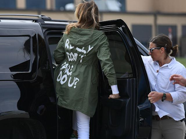 The first lady wore a controversial jacket on June 21 as she traveled to Texas. (Photo: Chip Somodevilla/Getty Images)
