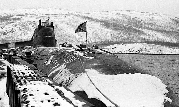 This photo, dated March 1995, shows the Russian submarine