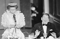 <p>President Reagan had quite the laugh when the Queen made a joke about the weather in California during a State Dinner in San Francisco. </p>