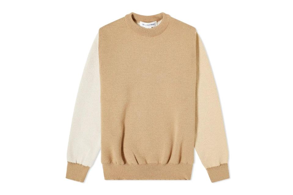 "$129, END.. <a href=""https://www.endclothing.com/us/comme-des-garcons-shirt-contrast-panel-crew-knit-fg-n011-1-2.html"" rel=""nofollow noopener"" target=""_blank"" data-ylk=""slk:Get it now!"" class=""link rapid-noclick-resp"">Get it now!</a>"