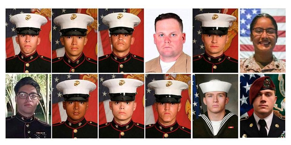 Photos released by the 1st Marine Division, Camp Pendleton/U.S. Department of Defense shows twelve service members killed in the Kabul airport bombing. Top Row, from left: Lance Cpl. Dylan R. Merola, 20, of Rancho Cucamonga, Calif., Cpl. Hunter Lopez, 22, of Indio, Calif., Cpl. Kareem M. Nikoui, 20, of Norco, Calif., Staff Sgt. Darin T. Hoover, 31, of Salt Lake City, Utah, Cpl. Daegan W. Page, 23, of Omaha, Nebraska, and Sgt. Johanny Rosario Pichardo, 25, of Lawrence, Massachusetts. Bottom Row, from left: Cpl. Humberto A. Sanchez, 22, of Logansport, Indiana, Lance Cpl. David L. Espinoza, 20, of Rio Bravo, Texas, Lance Cpl. Jared M. Schmitz, 20, of St. Charles, Missouri, Lance Cpl. Rylee J. McCollum, 20, of Jackson, Wyo., Navy Corpsman, Maxton W. Soviak, 22, of Berlin Heights, Ohio and Army Staff Sgt. Ryan C. Knauss, 23, of Corryton, Tennessee. Not pictured is Sgt. Nicole L. Gee, 23, of Roseville, Calif., was also killed. (AP)