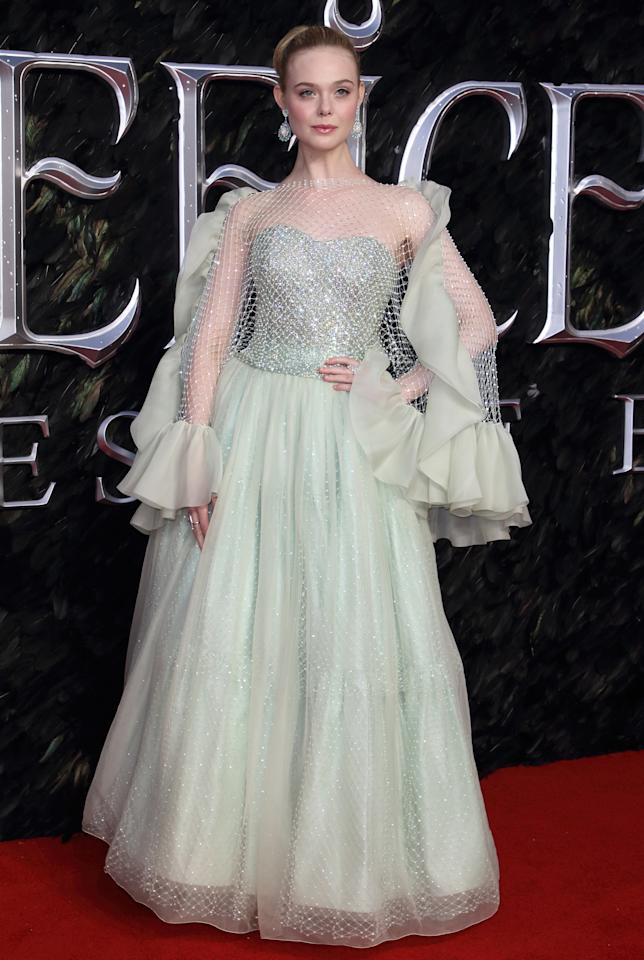 """<a href=""""https://www.teenvogue.com/tag/elle-fanning?mbid=synd_yahoo_rss"""">Elle Fanning</a> was an IRL Sleeping Beauty on the red carpet in support of the new <em>Maleficent: Mistress of Evil</em> movie, resplendent in a frilly seafoam green gown."""