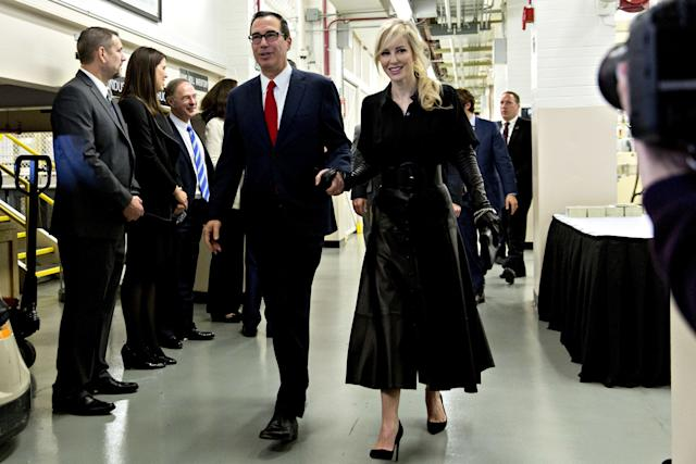 Mnuchin and Linton arrive at the U.S. Bureau of Engraving and Printing.