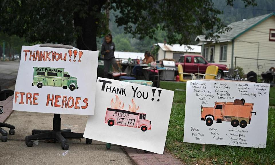 Signs thanking firefighters are seen in Quincy, California, at the Dixie Fire, in Quincy, California on 27 July, 2021.