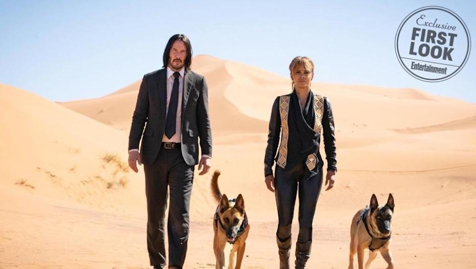 Keanu Reeves and John Wick 3 co-star Halle Berry (Credit: Lionsgate/Entertainment Weekly)