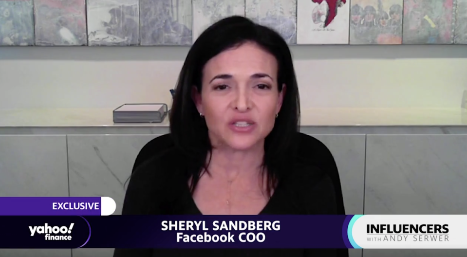 "Facebook COO Sheryl Sandberg appears on ""Influencers with Andy Serwer."""