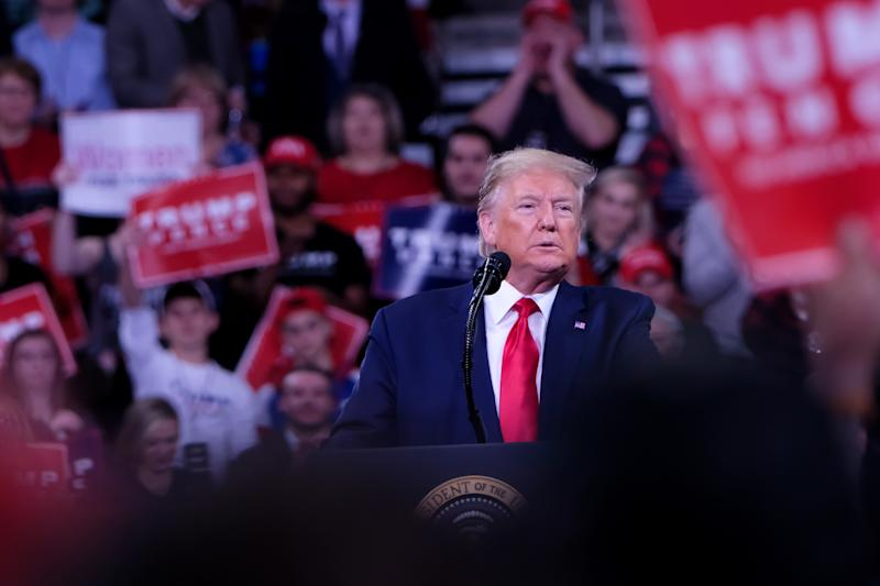 HERSHEY, UNITED STATES - DECEMBER 10 2019: President Donald J. TRUMP speaks to his supporters at Make America Great Rally in Hershey.- PHOTOGRAPH BY Preston Ehrler / Echoes Wire/ Barcroft Media (Photo credit should read Preston Ehrler / Echoes Wire / Barcroft Media via Getty Images)