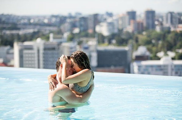 A photo of The Bachelor Australia's Abbie Chatfield and Matt Agnew in a pool.