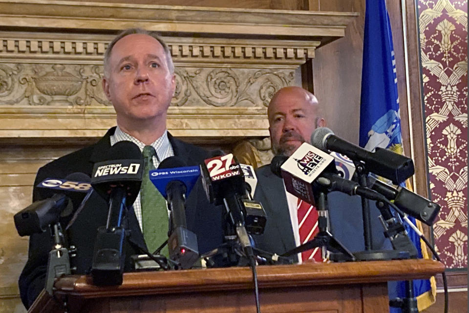 """FILE - In this July 27, 2021, file photo, Assembly Speaker Robin Vos speaks at the Capitol in Madison, Wis. Advocates for redistricting reform hope informal citizens commissions created in a number of states can draw public attention to partisan gerrymandering and its consequences. While the commissions have no official role, their supporters hope to use them to pressure the real map-makers to temper their political inclinations. When the Wisconsin panel was announced, Vos, a Republican, criticized it as a """"fake, phony, partisan process."""" But he recently told The AP in an email that the Legislature is open to suggestions from anyone, """"and if the Governor or his commission submit a plan, we will take a close look at it."""" (AP Photo/Scott Bauer, File)"""