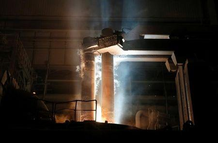 Electric arc furnace is seen at NLMK Kaluga steel mill in Vorsino outside Kaluga