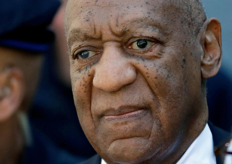 CORRECTS TO LILI BERNARD INSTEAD OF LILLI BERNARD FILE - In this April 26, 2018, file photo, actor and comedian Bill Cosby departs the courthouse after he was found guilty in his sexual assault retrial, at the Montgomery County Courthouse in Norristown, Pa. Lili Bernard, a prominent Cosby accuser filed suit Thursday, Oct. 14, 2021, against the actor over a 1990 hotel room encounter in Atlantic City, N.J. Bernard's lawsuit comes just before the state's two-year window to file older sexual assault claims expires Thursday. (AP Photo/Matt Slocum, File)
