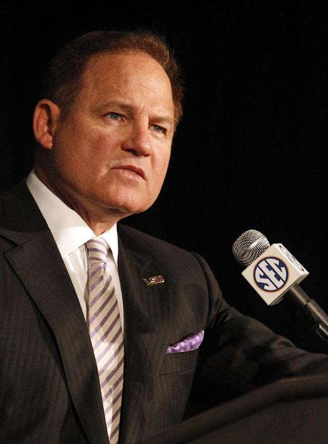 LSU coach Les Miles speaks to the media at the Southeastern Conference NCAA college football media days, Wednesday, July 16, 2014, in Hoover, Ala. (AP Photo/Butch Dill)