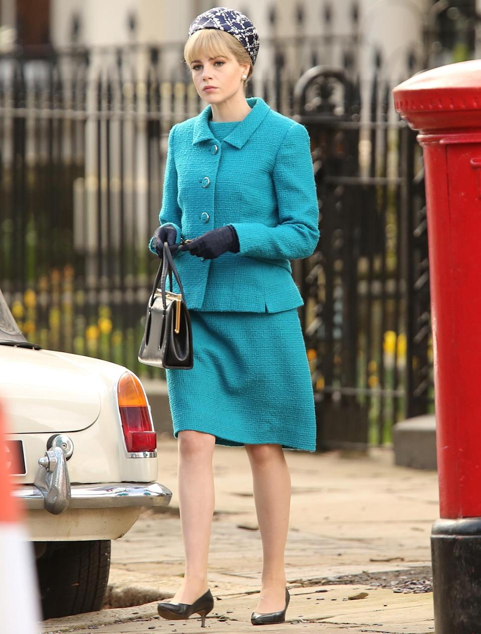 <p>Lucy Boynton was spotted filming ITV's<em> The Ipcress File </em>in Liverpool, England.</p>