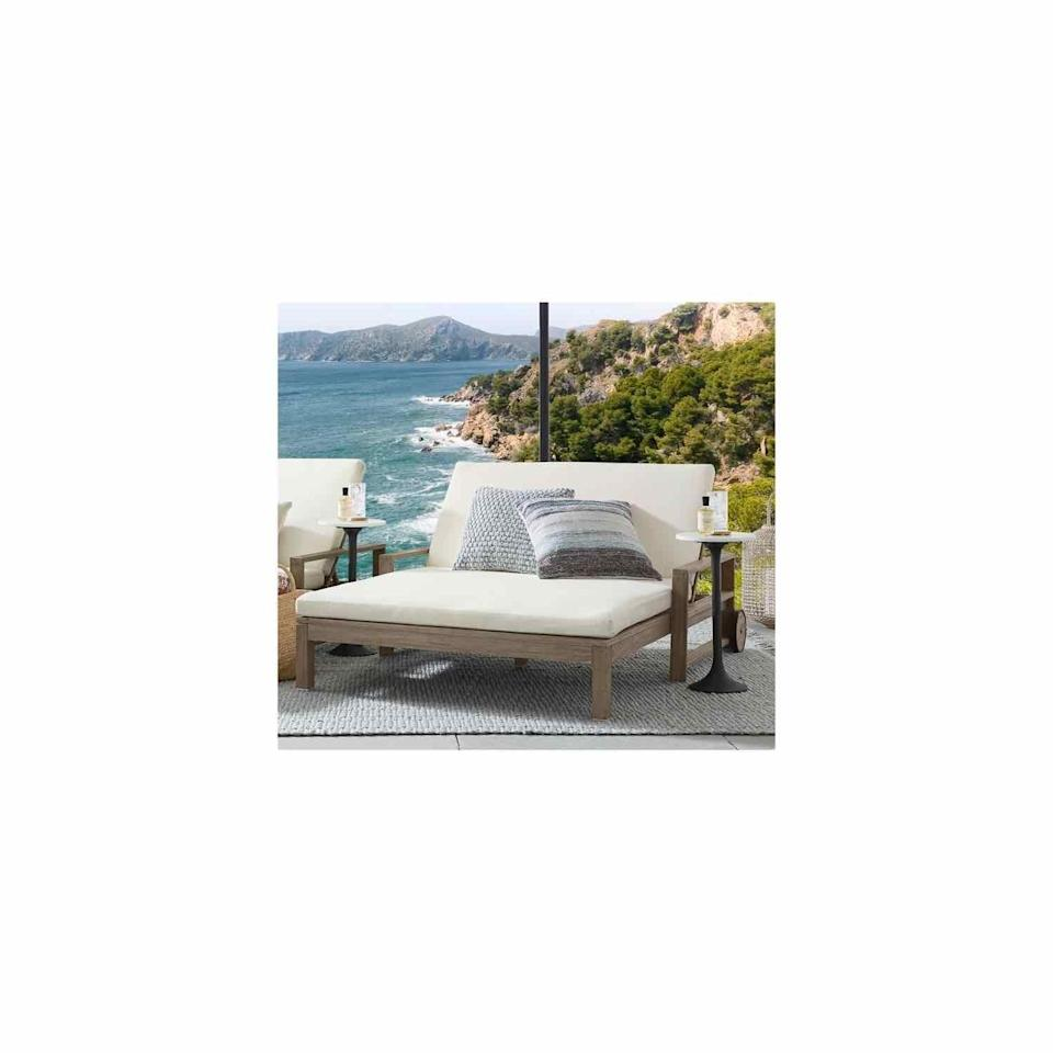 """<p>Pottery Barn</p><p><strong>$1399.00</strong></p><p><a href=""""https://go.redirectingat.com?id=74968X1596630&url=https%3A%2F%2Fwww.potterybarn.com%2Fproducts%2Findio-wood-double-chaise-with-wheels-gray-20%2F%3Fpkey%3Dcoutdoor-lounge-furniture&sref=https%3A%2F%2Fwww.oprahdaily.com%2Flife%2Fg36661332%2Fbest-pool-lounge-chair%2F"""" rel=""""nofollow noopener"""" target=""""_blank"""" data-ylk=""""slk:SHOP NOW"""" class=""""link rapid-noclick-resp"""">SHOP NOW</a></p><p>Rather than buy a set of two, opt for a single piece of furniture that's roomy enough to seat a duo. You'll feel like you're at a hotel in the heart of Miami every day. </p>"""