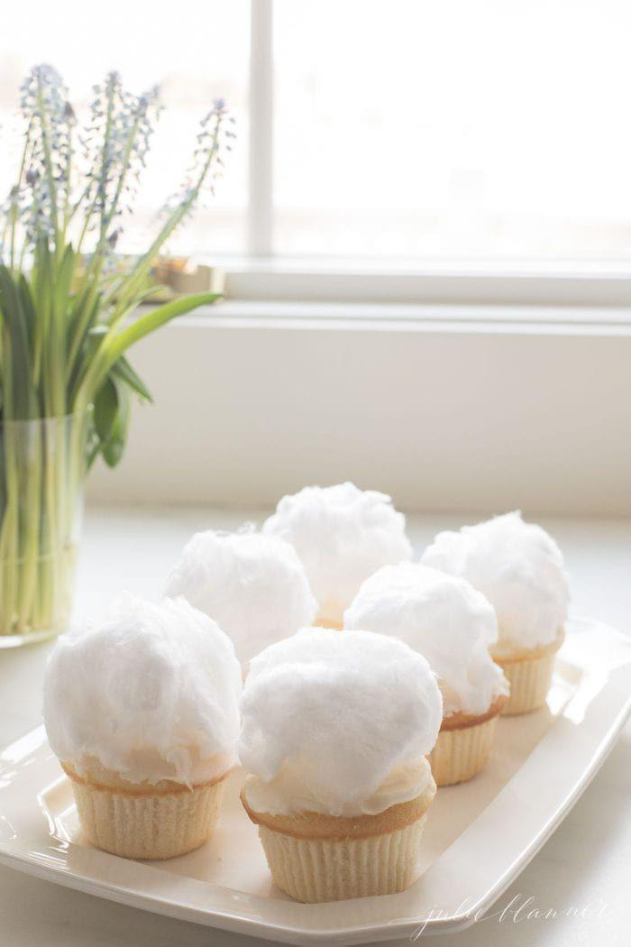 "<p>These adorable desserts are nothing more than vanilla cupcakes topped with white cotton candy. </p><p><em><a href=""https://julieblanner.com/bunny-tail-cupcakes/"" rel=""nofollow noopener"" target=""_blank"" data-ylk=""slk:Get the recipe at Julie Blanner »"" class=""link rapid-noclick-resp"">Get the recipe at Julie Blanner »</a></em></p>"