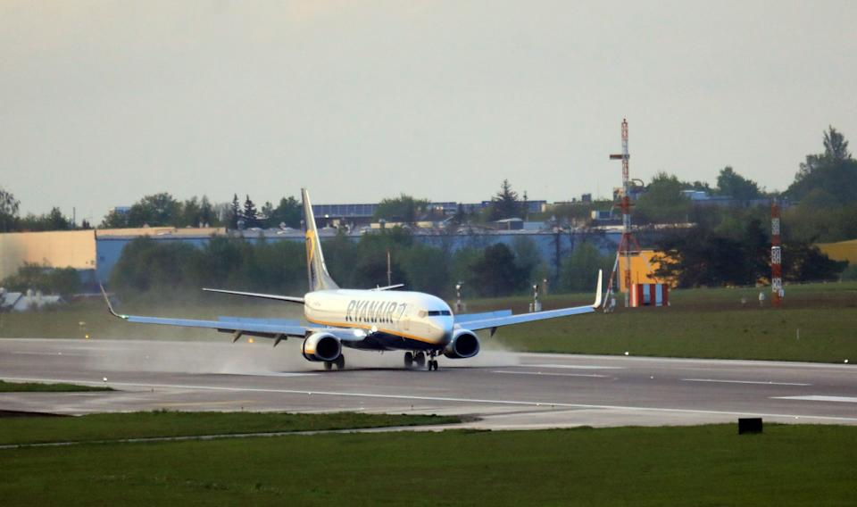 A photo taken on May 23, 2021 shows a Boeing 737-8AS Ryanair passenger plane.