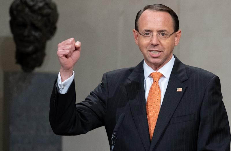 "According to the Times, Rosenstein was unhappy about being ""used"" by Trump in the firing of Comey, as well as concerned about other turmoil in the White House under the new president (AFP Photo/SAUL LOEB)"