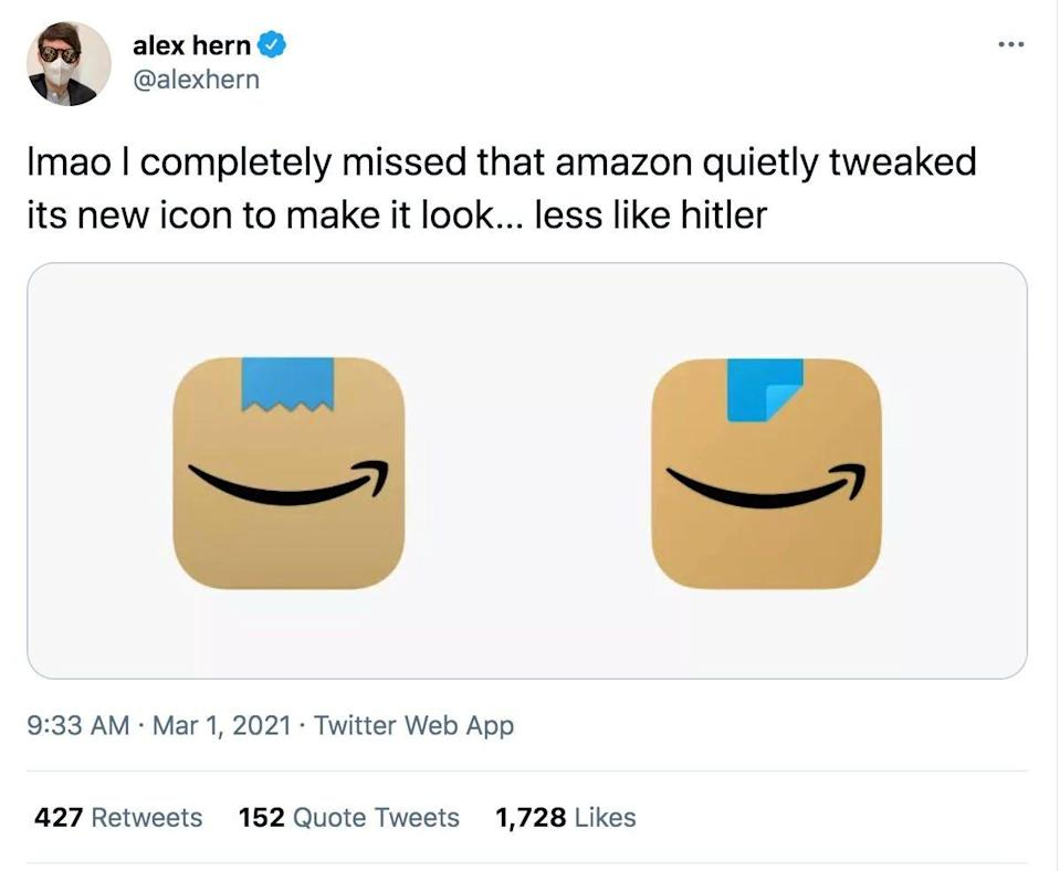 A screenshot of a tweet from Guardian technology editor Alex Hern showing the change in Amazon app icons.