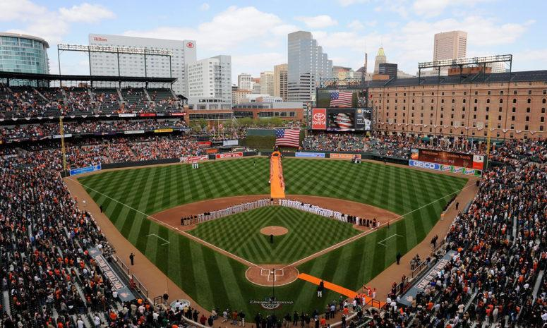 A general view of Camden Yards home of the Baltimore Orioles in the AL East.