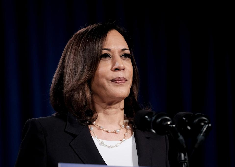<p>Harris double-looped this chainlink pearl necklace for a campaign event as Democratic Vice Presidential nominee in August 2020.</p>