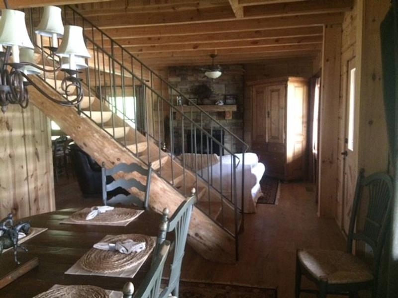 The interior of the cabin doesn't quite match up to those seen on screen, which were presumably shot on a soundstage. (Airbnb)