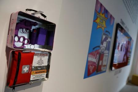 """A safety defence lunchbox kit is seen as part of an art installation by artist WhIsBe titled """"Back to School Shopping"""" to illustrate the dangers of gun violence in schools, at a gallery in New York City"""