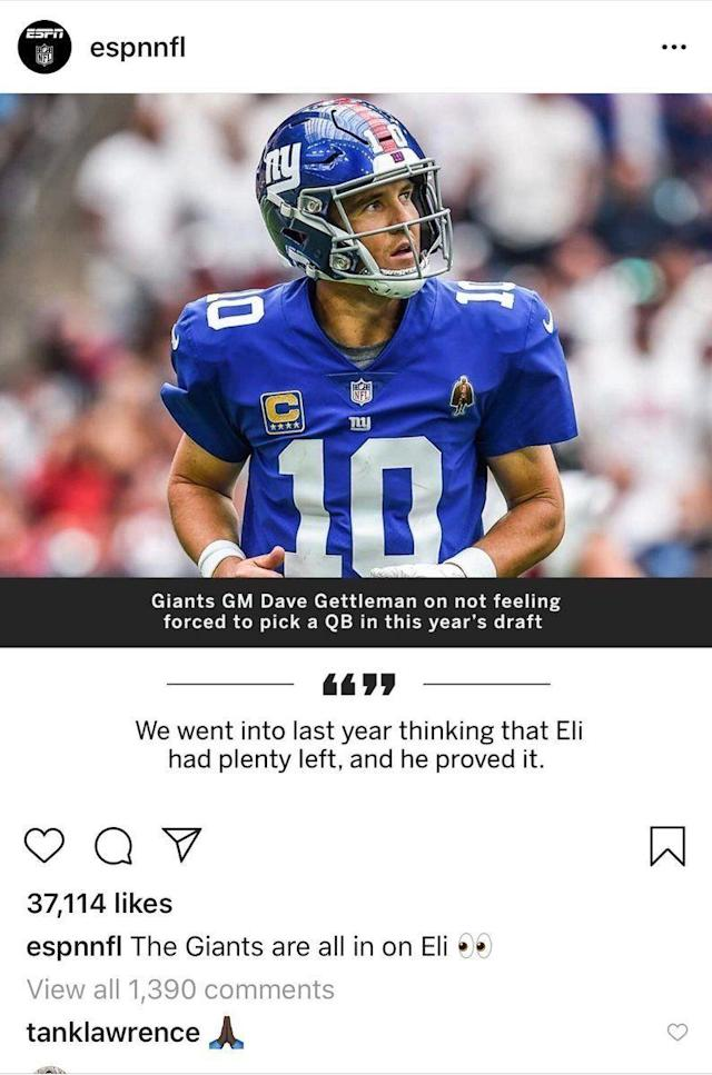 (ESPN Instagram post via Field Yates on Twitter)