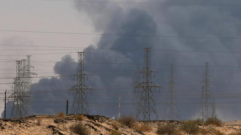 Smoke is seen following a fire at an Aramco factory in Abqaiq, Saudi Arabia, September 14, 2019.