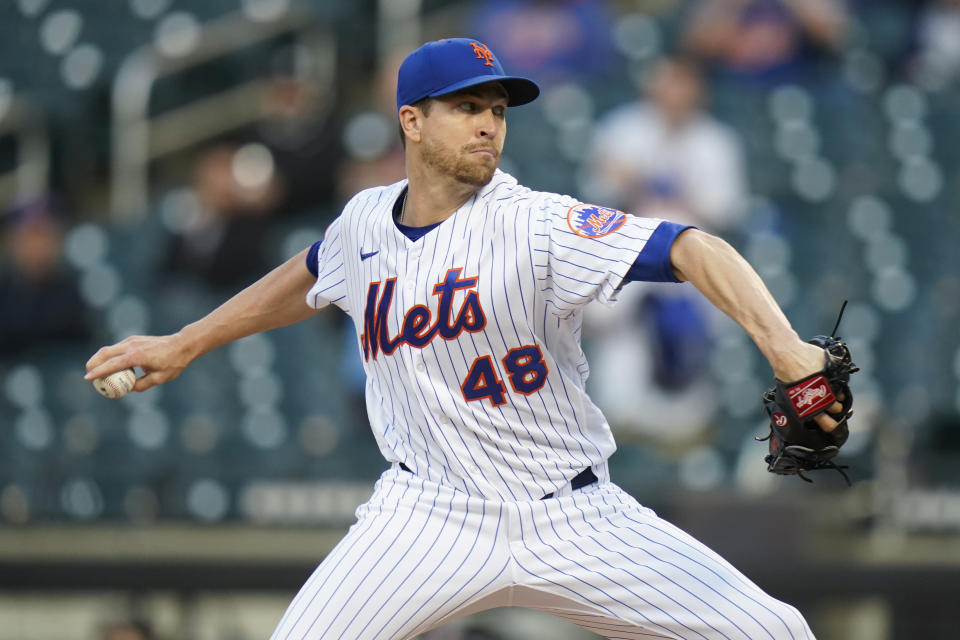New York Mets' Jacob deGrom delivers a pitch during the first inning of a baseball game against the Colorado Rockies Tuesday, May 25, 2021, in New York. (AP Photo/Frank Franklin II)