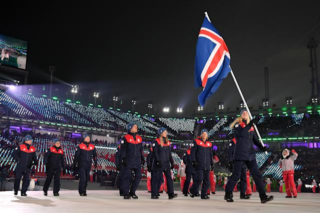 <p>Flag bearer Freydis Halla Einarsdottir of Iceland and teammates enter the stadium during the Opening Ceremony of the PyeongChang 2018 Winter Olympic Games at PyeongChang Olympic Stadium on February 9, 2018 in Pyeongchang-gun, South Korea. (Photo by Matthias Hangst/Getty Images) </p>